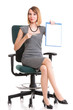 young business woman sitting with her clipboard isolated