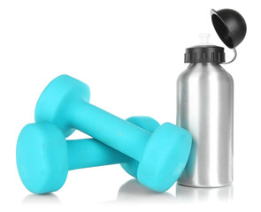 Sports bottle and dumbbells isolated on white