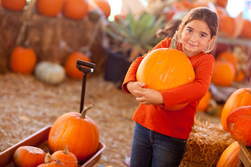 Young Girl Choosing A Pumpkin