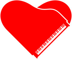 Piano Heart Love Design