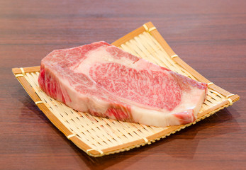 Close up marbled on fresh  Japanese Kobe Matsusaka beef