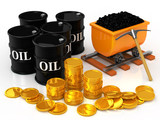 The gold coins to coal and oil barrel