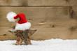 Rustikale Weihnachtskarte klassisch mit Rot, Holz, Weiß