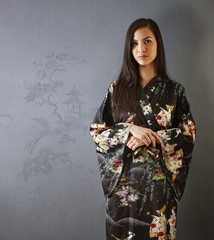 Portrait of attractive Asian woman in kimono