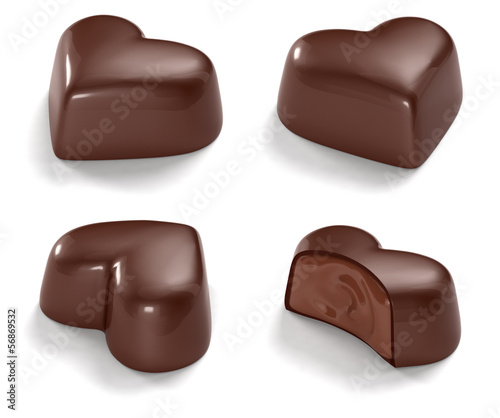 chocolate hearts isolated on white background
