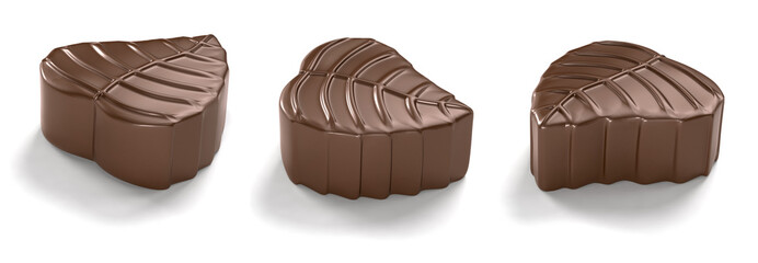 leaf-shaped chocolates on white background