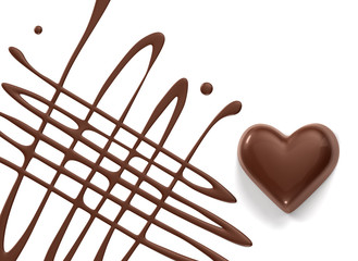 chocolate syrup and chocolate heart isolated on white