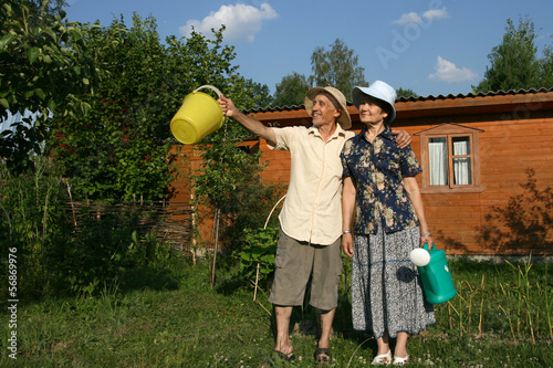 Elderly man and the woman on a personal garden