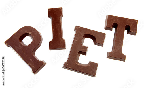 "The word ""PIET"" in chocolate letters"