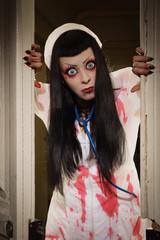 Horror movie. Crazy dead nurse
