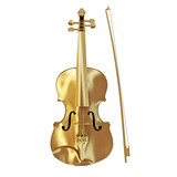 Music award concept, golden violin isolate