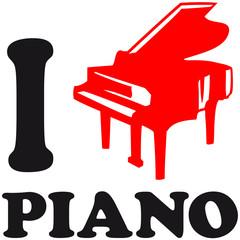 I Love Piano Logo Design