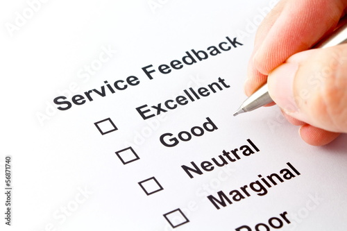 service feedback isolated over white background