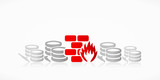 Data center firewall abstract red symbol illustration