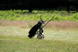 A Single Golf Trolley Standing at the end of a Fairway.