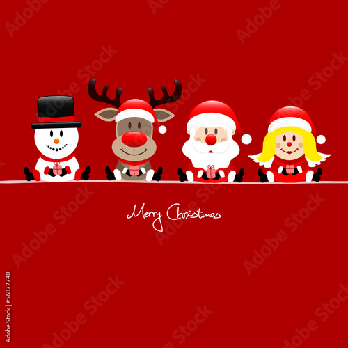 Snowman, Rudolph, Santa & Angel Gift Red