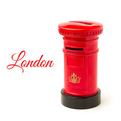 London post office money box isolated on white background