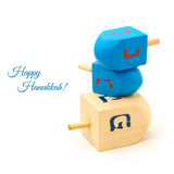 Hanukkah wooden dreidel spinning top isolated on white