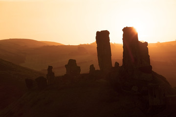 Sunrise at Corfe Castle near Swanage