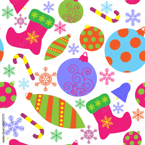Seamless pattern with christmas attributes