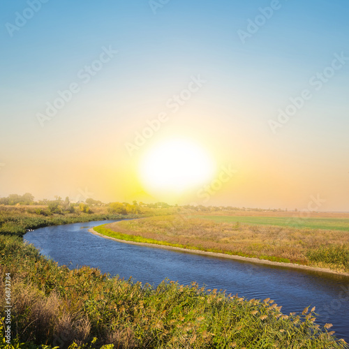 quiet sunset over an steppe river