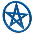 Blue pentagram sign isolated on white background