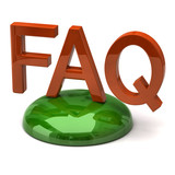 Illustration of orange FAQ on green ground