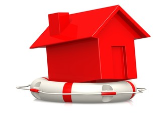 Life buoy with red house