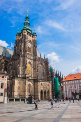 The west facade of St. Vitus Cathedral in Prague (Czech Republic