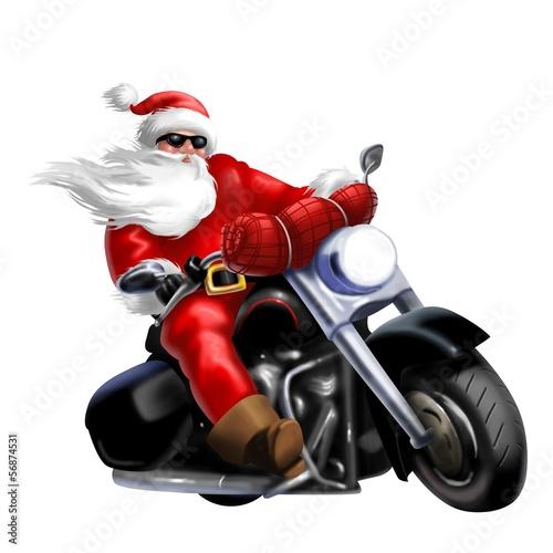 Leinwandbild Motiv biker natalizio