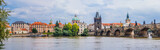 Karlov or charles bridge and river Vltava in Prague in summer