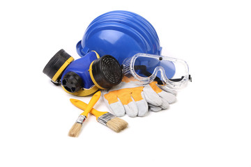 Blue safety helmet with respirator and goggles.