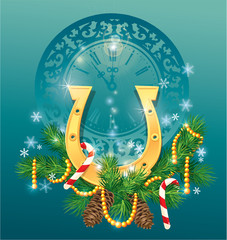 christmas and new year background with golden horse shoe - symbo