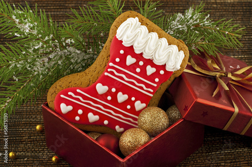 christmas traditional gingerbread with gift box