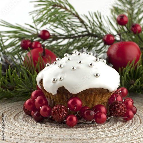 christmas cupcake with holiday decoration