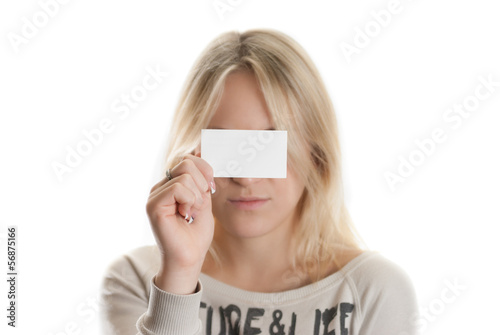 Girl with the business card