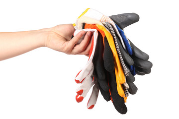 Hand holds protective different gloves