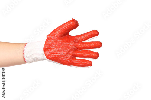 Hand wearing new protective gloves