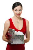Disappointed woman holding a gift