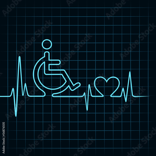 heartbeat make a handicapped and heart symbol stock vector