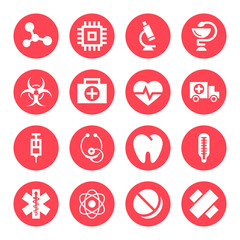 Medical monochrome red icons