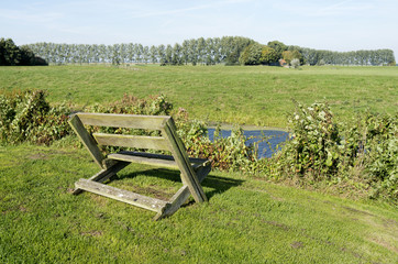 Bench in the meadows in Ter Aar, Netherlands.