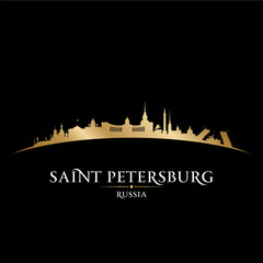 Saint Petersburg Russia city skyline silhouette black background