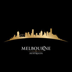 Melbourne Australia city skyline silhouette black background