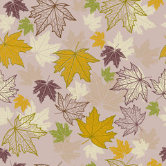 Autumn seamless pattern with maple leaves