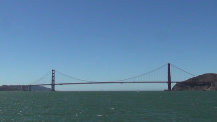 Golden Gate bridge seen fromamoving boat
