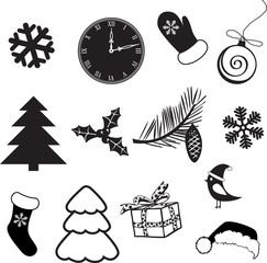 Set of christmas subjects and decorations
