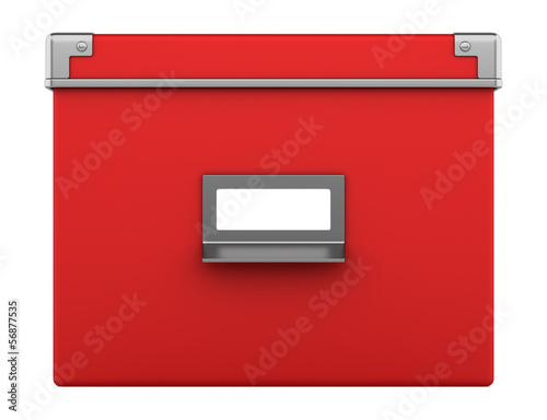 single red office cardboard box isolated on white background