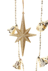 Christmas golden garland with stars and bells.