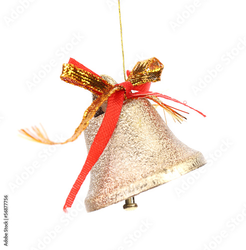 Christmas decoration bell with red ribbon.